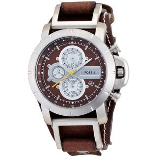 Fossil Men's JR1157 Brown Leather Strap Brown Dial Chronograph Watch