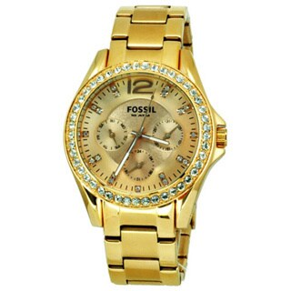 Fossil Women's 'Riley' Multifunction Rose Goldtone Glitz Watch - Gold