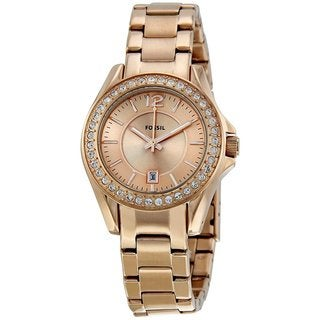 Fossil Women's ES2889 Mini 'Riley' Rosegold Glitz Watch
