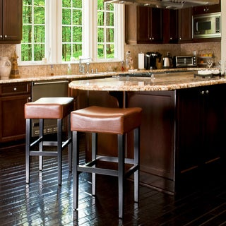 Hazelnut 30-inch Leather Backless Barstools (Set of 2) by Christopher Knight Home