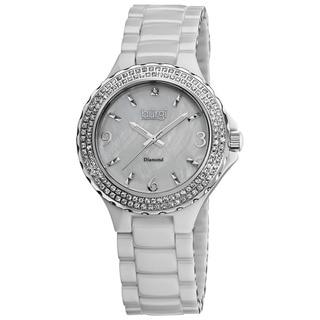 Burgi Women's Diamond Ceramic White Quartz Watch
