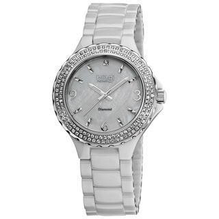 Burgi Women's Diamond Ceramic White Quartz Watch