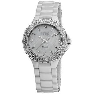 Burgi Women's Diamond Ceramic White Quartz Watch|https://ak1.ostkcdn.com/images/products/6113427/P13779433.jpg?impolicy=medium