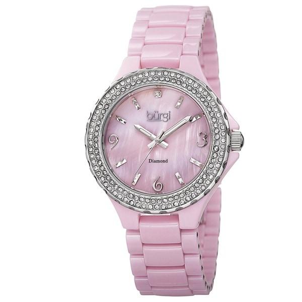Burgi Women's Diamond Ceramic Mother of Pearl Quartz Pink Watch