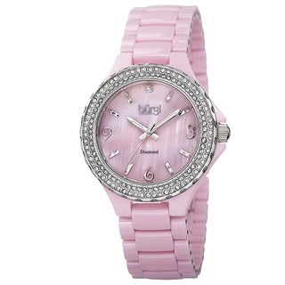 Burgi Women's Diamond Ceramic Mother of Pearl Quartz Pink Watch