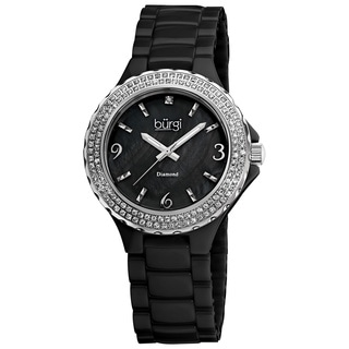 Burgi Women's Diamond Ceramic Black Quartz Watch