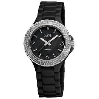 Burgi Women's Diamond Ceramic Black Quartz Watch