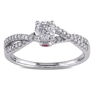 L'Amour Enrose by Miadora 14k White Gold 1/2ct TDW Diamond and Pink Sapphire Engagement Ring