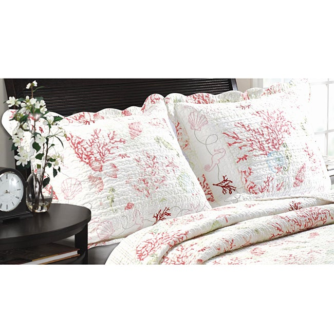 Greenland Home Fashions Coral Red Quilted Standard-size Shams (Set of 2)