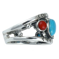 Southwest Moon Sterling Silver Multi-gemstone Ring - Thumbnail 1