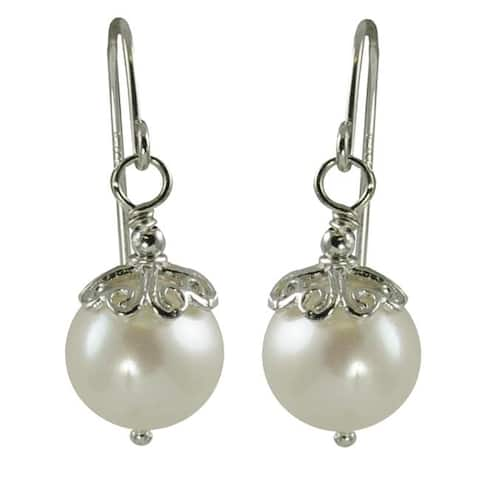 Pearls For You Silver White Freshwater Pearl Earrings (9-10 mm)