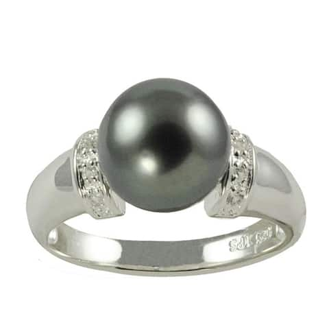 Pearls For You Silver Tahitian Pearl and Topaz Ring (10-11 mm)