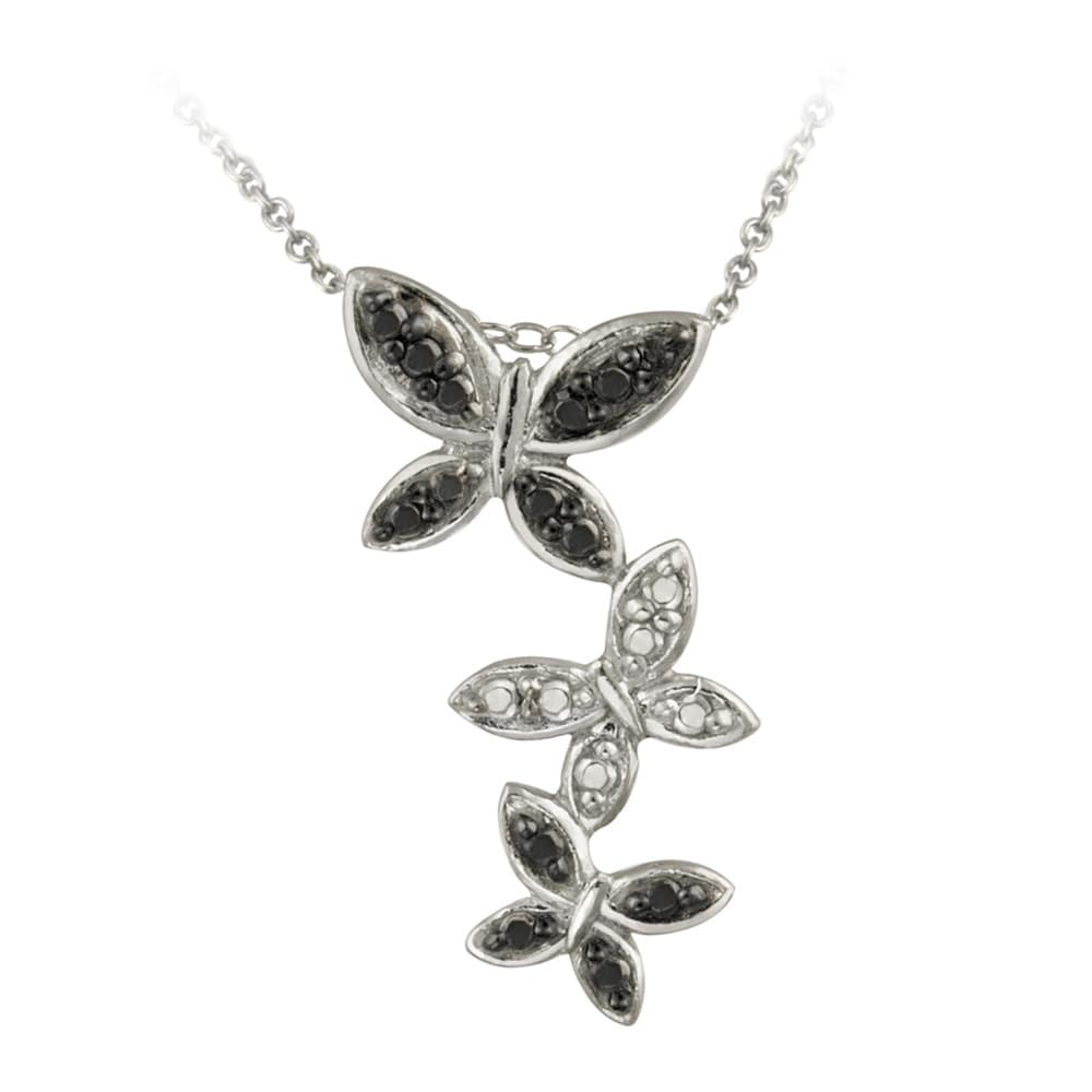 DB Designs Sterling Silver Black Diamond Accent Butterfly Necklace