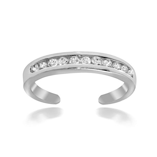 Icz Stonez Sterling Silver Channel-set Cubic Zirconia Toe Ring