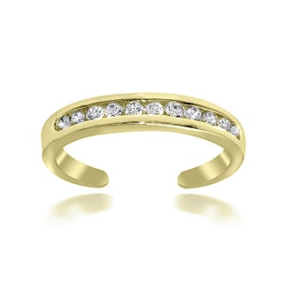 Icz Stonez Sterling Silver Channel-set Cubic Zirconia Toe Ring (Option: 18k Gold over Silver)
