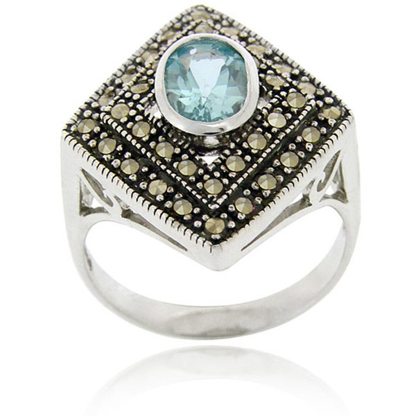 Glitzy Rocks Sterling Silver Blue Topaz and Marcasite Ring. Opens flyout.