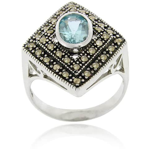 Glitzy Rocks Sterling Silver Blue Topaz and Marcasite Ring
