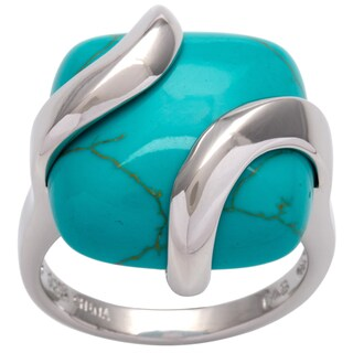 Glitzy Rocks Sterling Silver Square Turquoise Ring (5 options available)