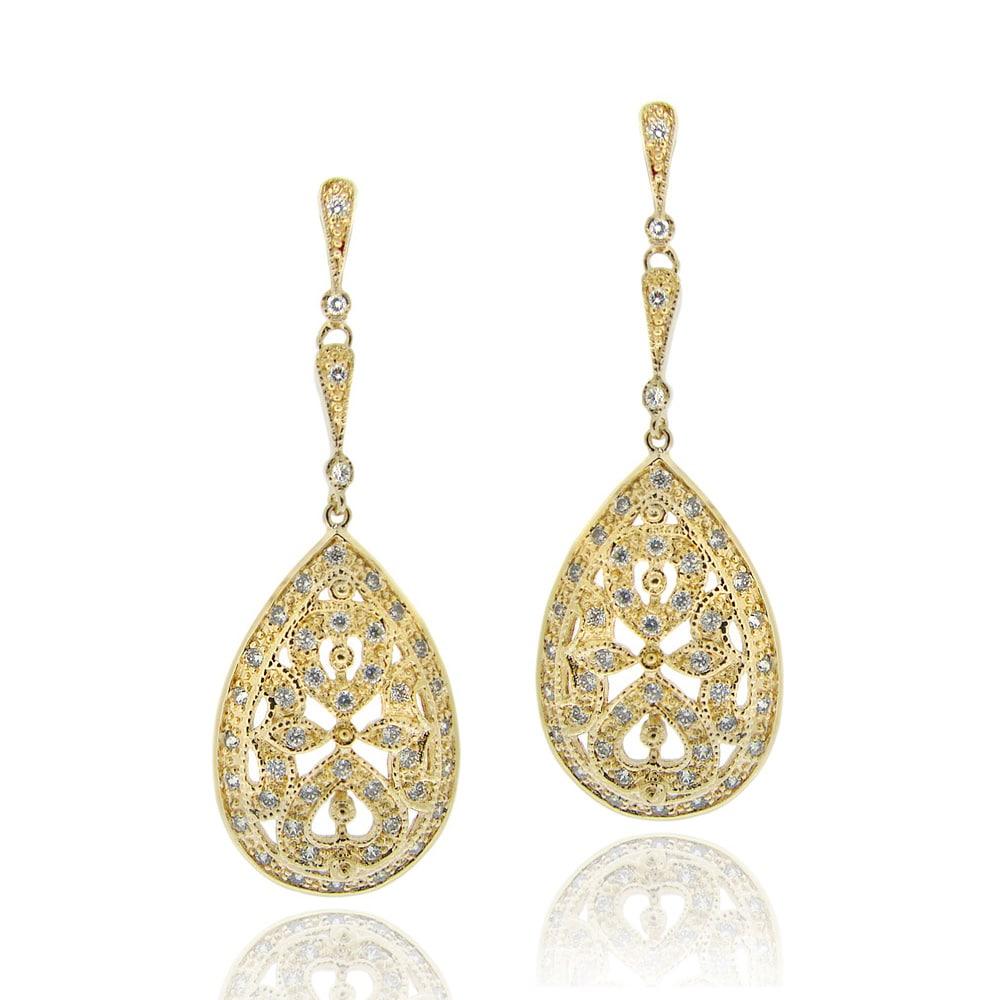 Icz Stonez 18k Gold over Silver Cubic Zirconia Teardrop Dangle Earrings