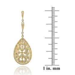 Icz Stonez 18k Gold over Silver Cubic Zirconia Teardrop Dangle Earrings - Thumbnail 2