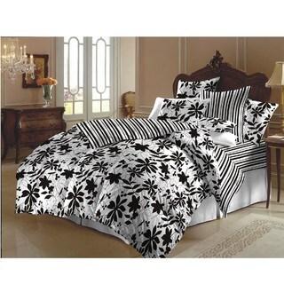 Black and White Flowered Duvet Cover Set (India)