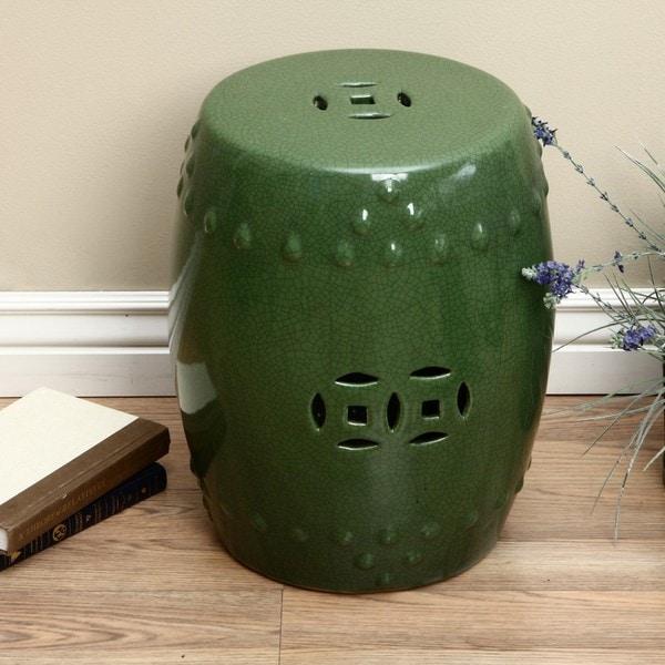 Handmade Porcelain Crackled Emerald Green Garden Stool (China)