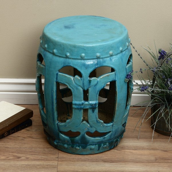 Ceramic Vintage Turquoise Club Garden Stool China Free