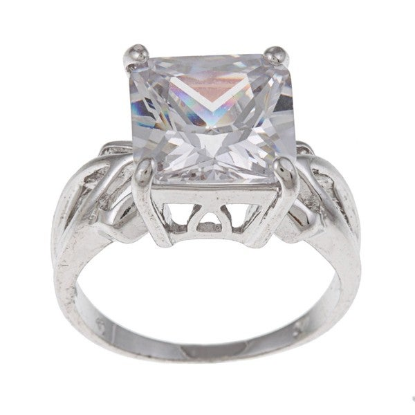 White Gold Overlay Cushion-cut Clear Cubic Zirconia Cocktail Ring