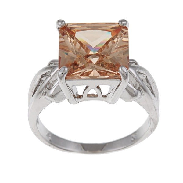 White Gold Overlay Cushion-cut Yellow Cubic Zirconia Cocktail Ring