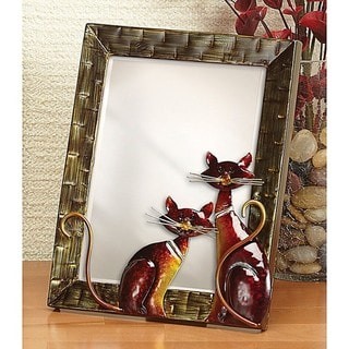 Small Metal Cats Table Mirror