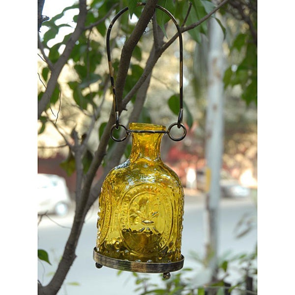 Handmade Glass and Brass Yellow Hanging Lantern (India)