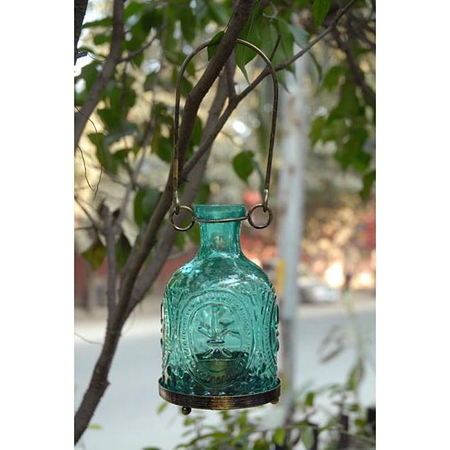 Handmade Glass and Brass Aqua Hanging Lantern (India)