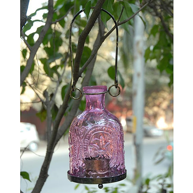 Handmade Glass And Brass Purple Hanging Lantern India