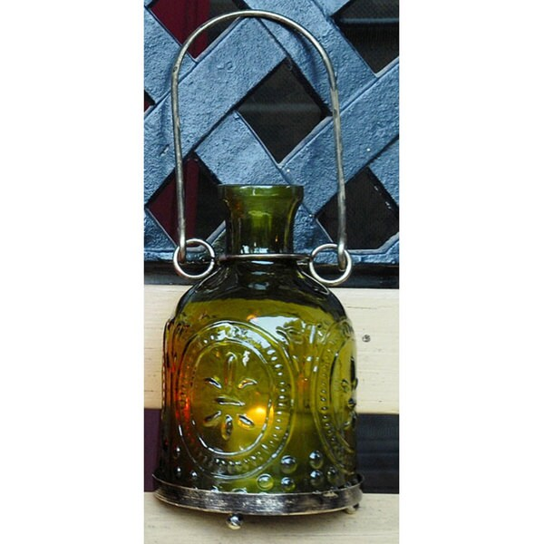 Handmade Glass and Brass Green Hanging Lantern (India)