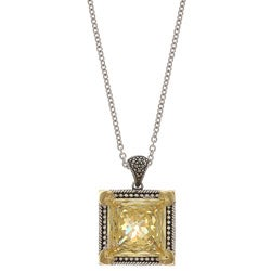 MARC Sterling Silver Canary Cubic Zirconia and Marcasite with 14K Yellow Gold Overlay Prongs Necklace