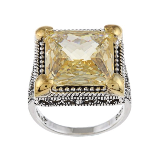 MARC Sterling Silver Canary Cubic Zirconia and Marcasite with 14K Yellow Gold Overlay Prongs Ring