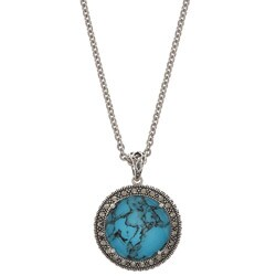 MARC Sterling Silver Crystal & Turquoise Doublet and Marcasite Necklace