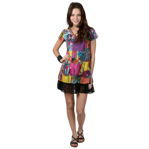 Journee Collection Juniors Lace Trim Mixed Print Tunic Dress