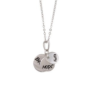 La Preciosa Sterling Silver 'Faith, Hope, Believe' Circle Necklace