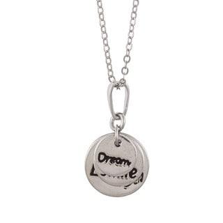 La Preciosa Sterling Silver 'Dream, Smile, Laugh' Circle Necklace