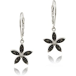 DB Designs Sterling Silver Black Diamond Accent Flower Earrings