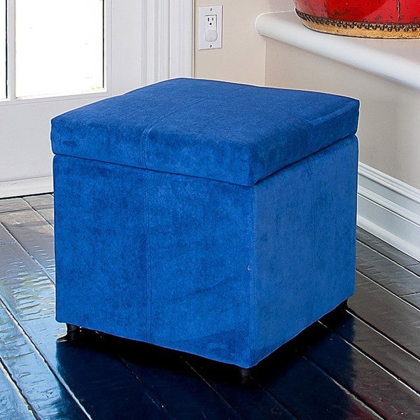 Square Blue Cube Storage OttomanFree Shipping On Orders Over