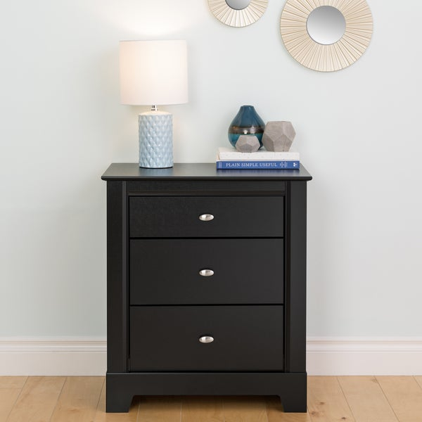 shop nicola black 3 drawer nightstand free shipping today overstock 6127014. Black Bedroom Furniture Sets. Home Design Ideas