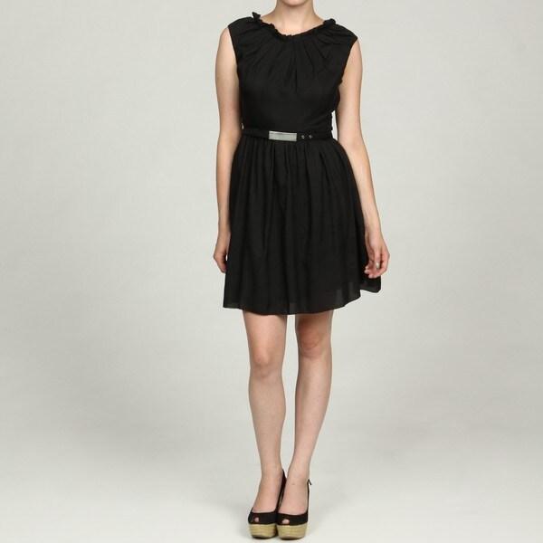 Marc New York Women's Black Pleated Belted Dress