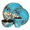 American Atelier Mirabel Blue Round Stoneware 16-Piece Dinnerware Set
