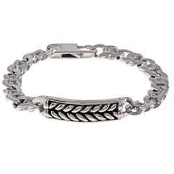 Stainless Steel Men's Braided Design ID Bracelet