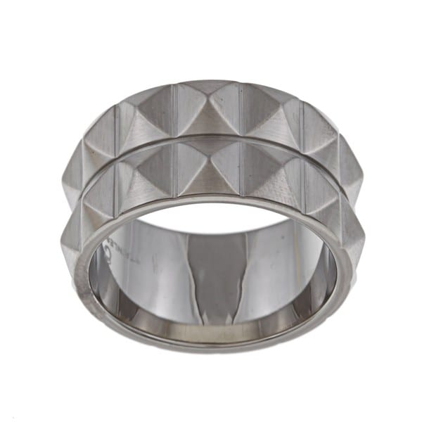 Stainless Steel Men's Two-row Spike Band
