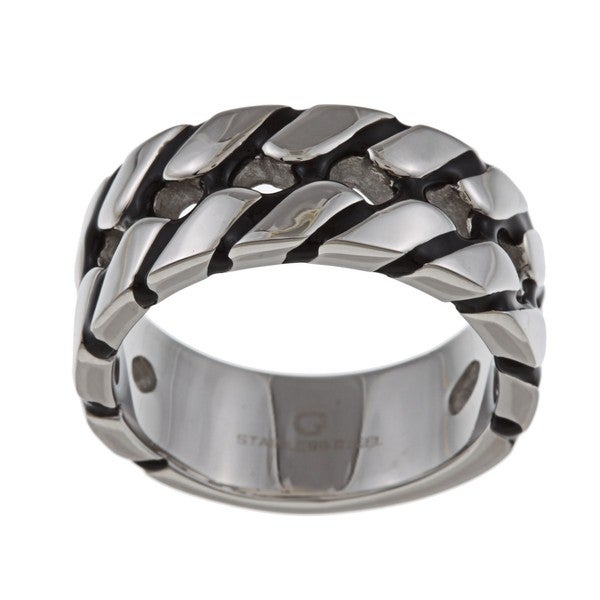 Stainless Steel Men's Two-row Tire Tread Band