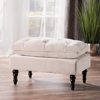 christopher knight home creme tufted fabric ottoman - Upholstered Ottoman