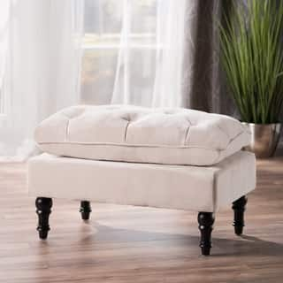 Style French Country Christopher Knight Home Creme Tufted Fabric Ottoman